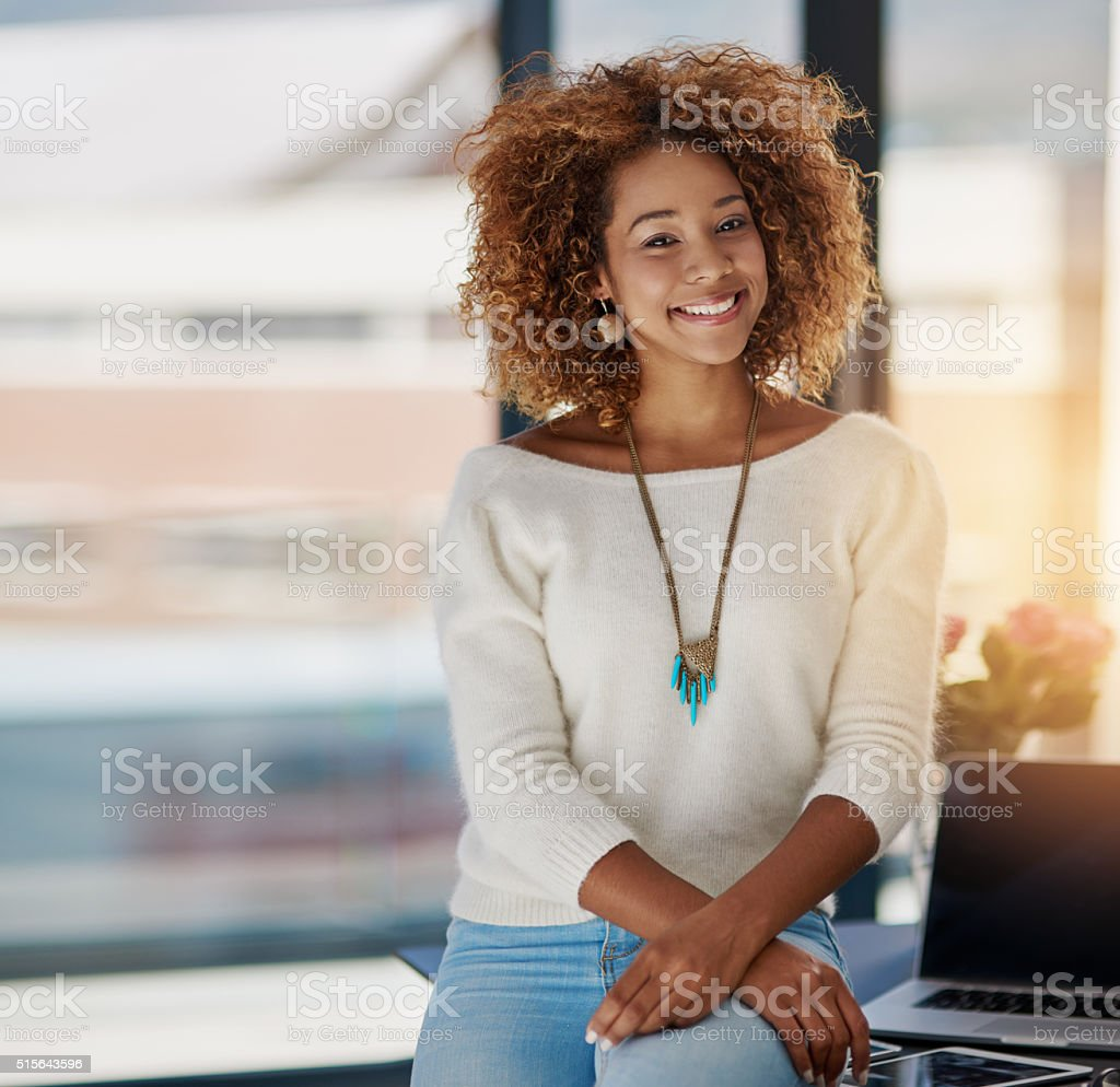 Success is smiling on me! stock photo