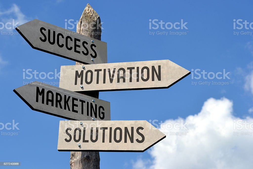 Success, motivation, marketing, solutions signpost stock photo