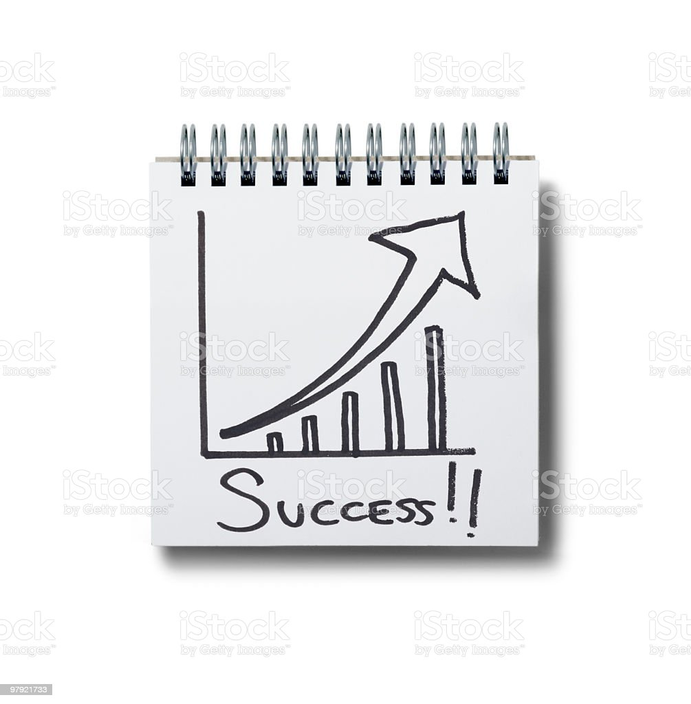success! notepad. stock photo