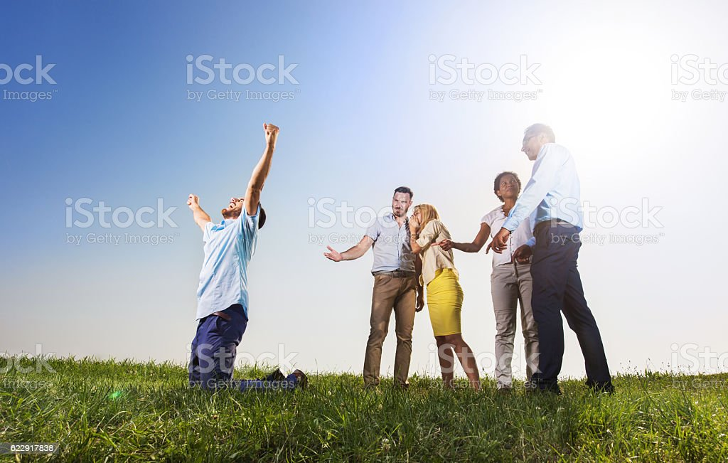 Success of other person makes people jealous! stock photo