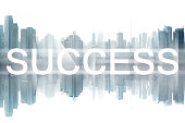 success on cityscape background