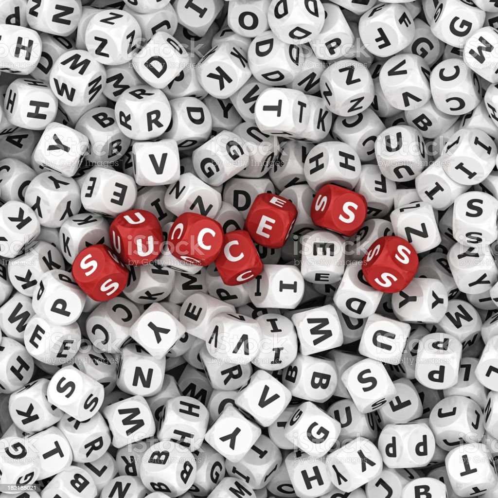 success  on dices stock photo