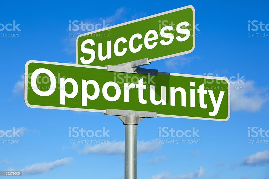 Success Opportunity Street Intersection Sign royalty-free stock photo