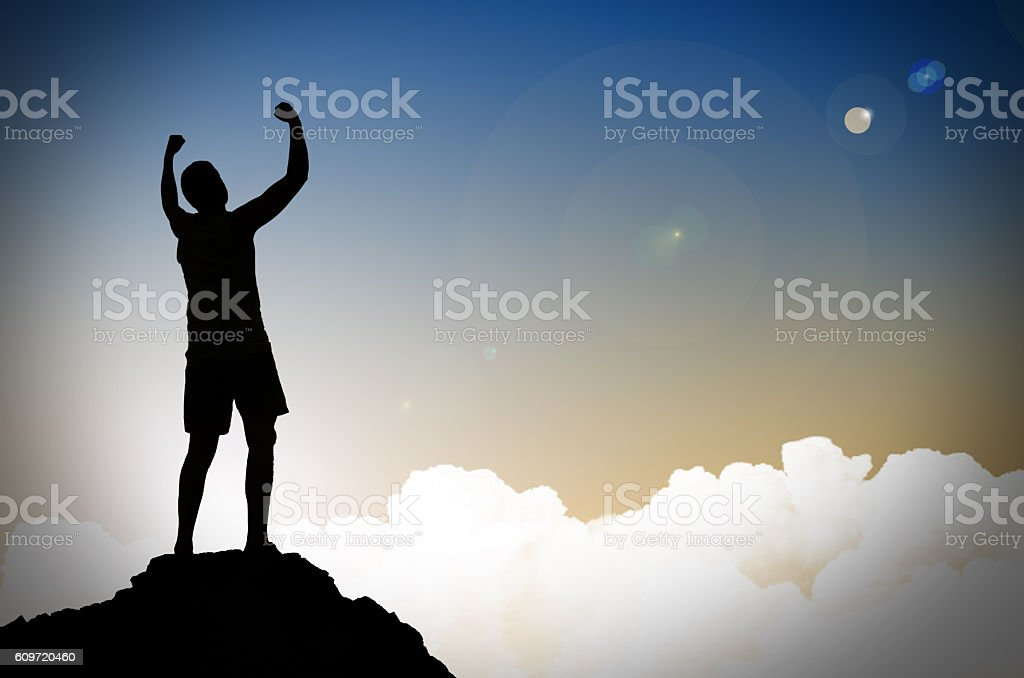 success. People on a mountain top stock photo