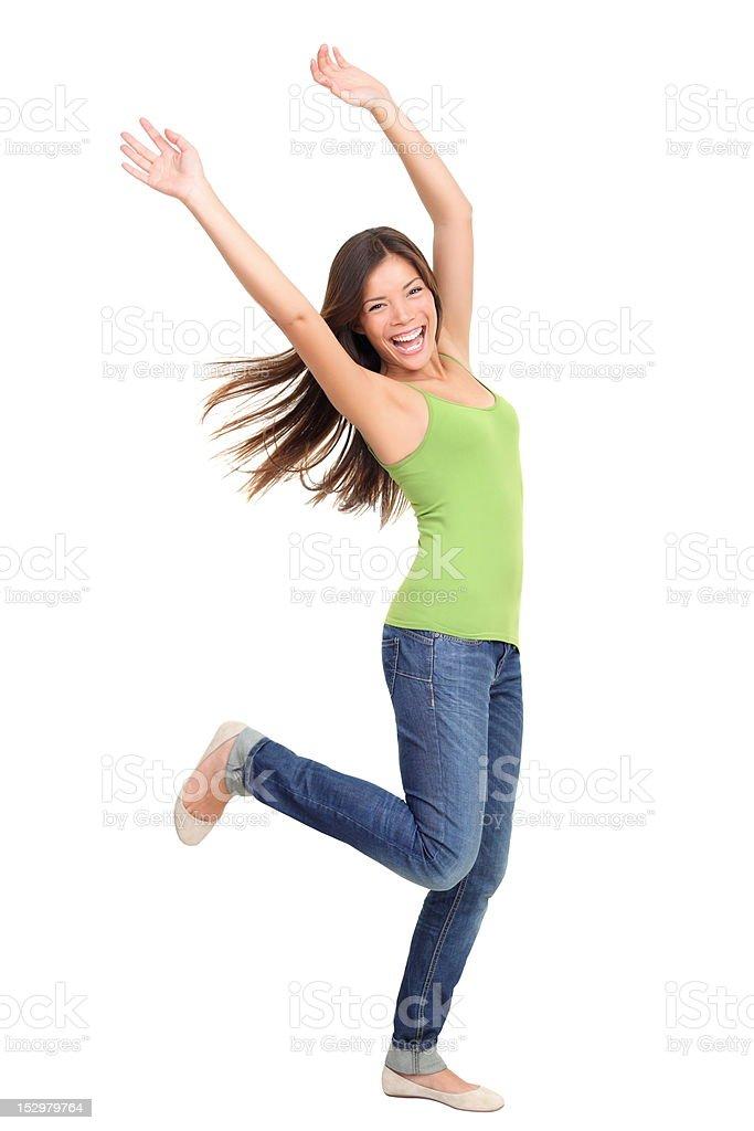 Success people winning: woman dancing royalty-free stock photo