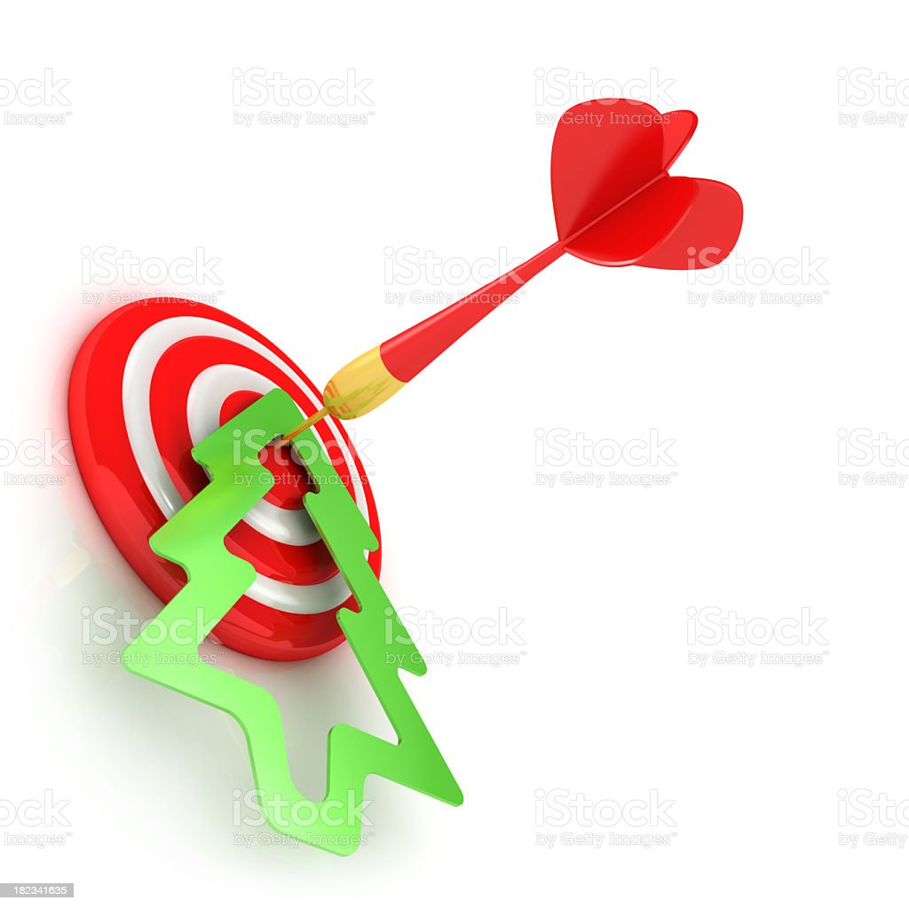 Success red dart and christmas tree stock photo