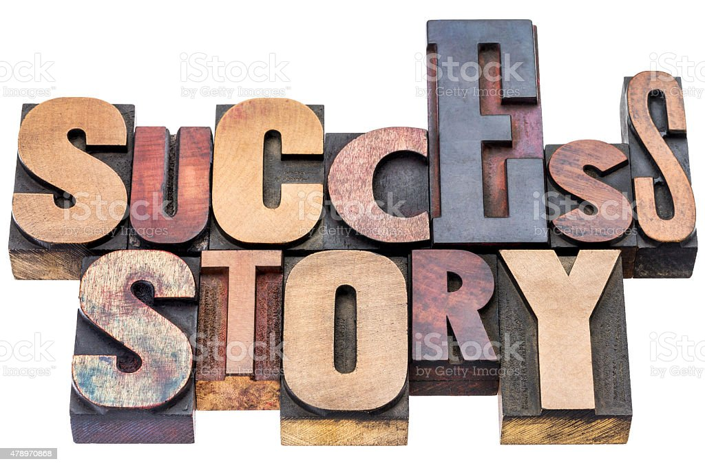 success story wood type typography stock photo