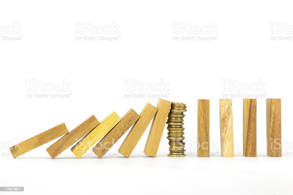 Success strategy, money and domino royalty-free stock photo