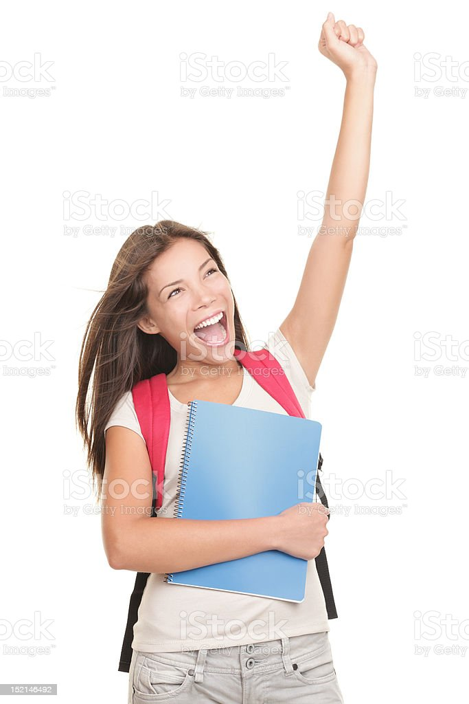 Success student on white royalty-free stock photo