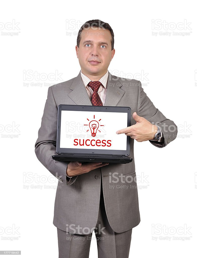 success symbol on laptop royalty-free stock photo