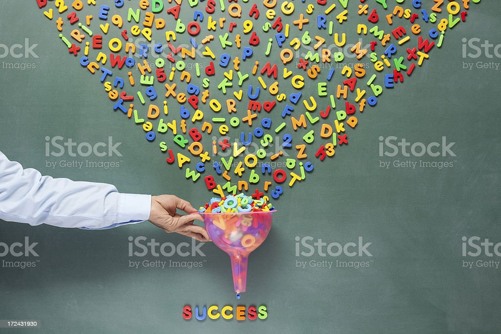 Success symbolization on blackboard with mess of letters stock photo