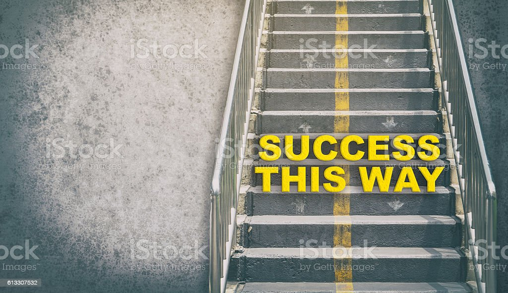 Success This Way Step up the success stair stock photo