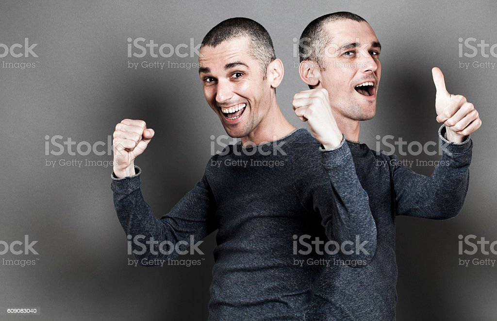 concept of success, thumbs up, ecstatic male expressions with...
