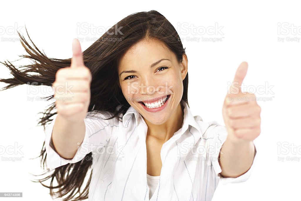 Success woman thumbs up stock photo