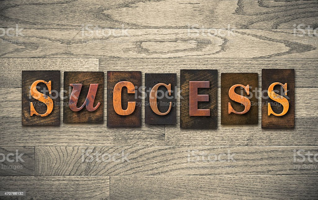 Success Wooden Letterpress Theme stock photo