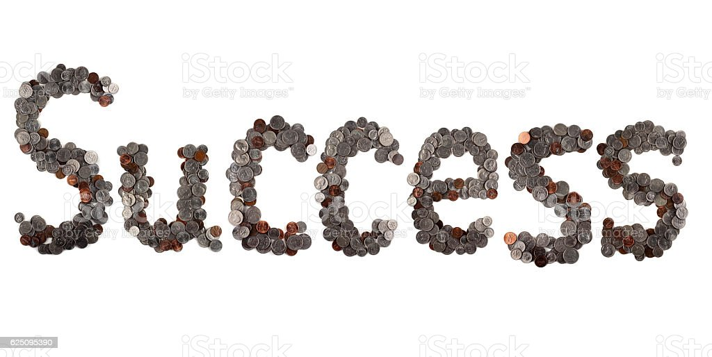 Success. Word made of coins. stock photo