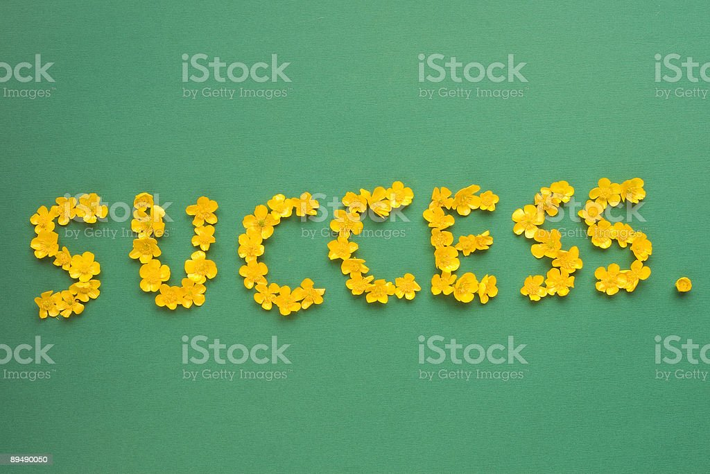 Success written with buttercups royalty-free stock photo