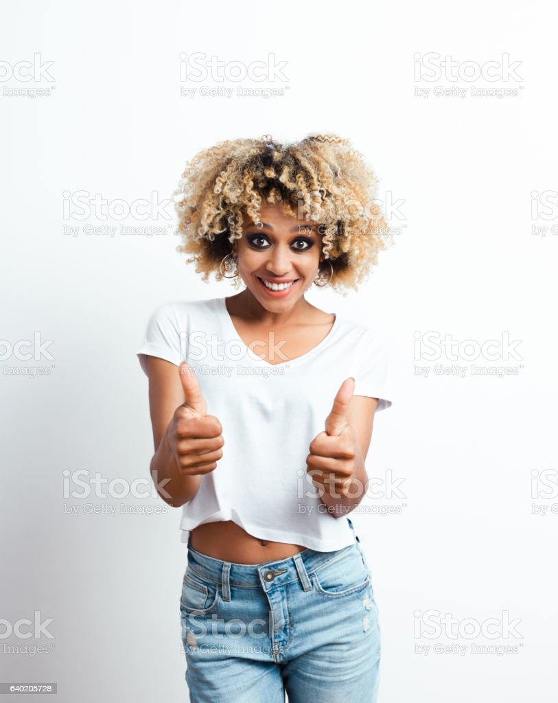 Successful afro american young woman stock photo