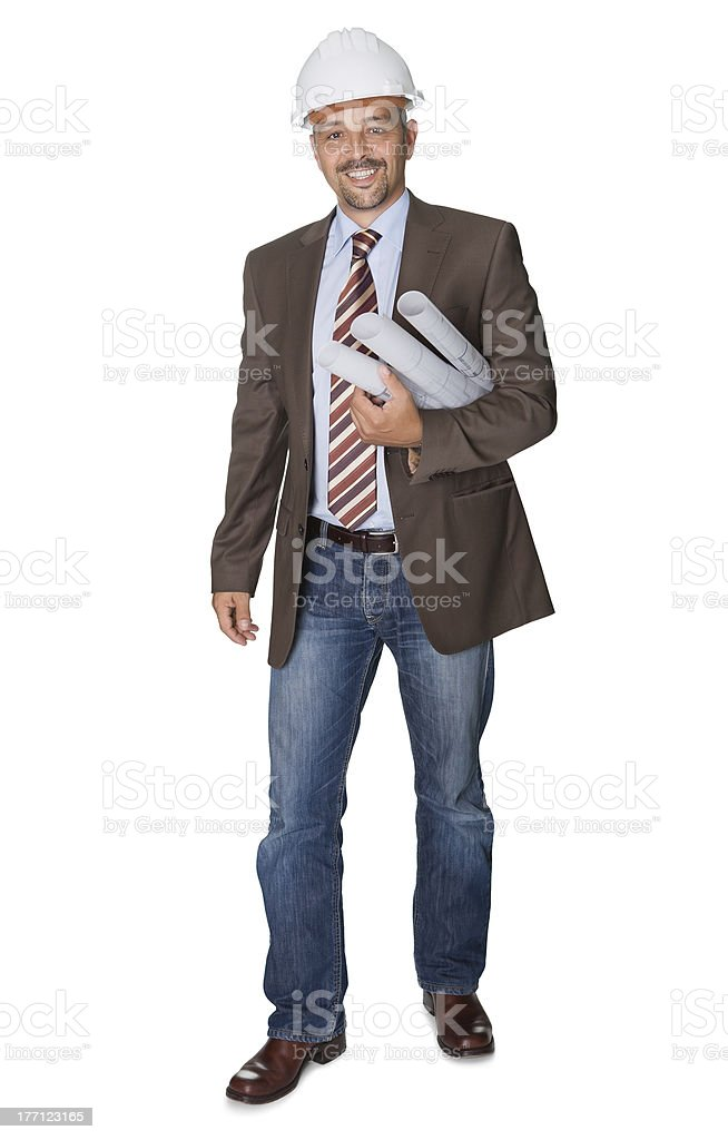 Successful architect with blueprint on white background royalty-free stock photo