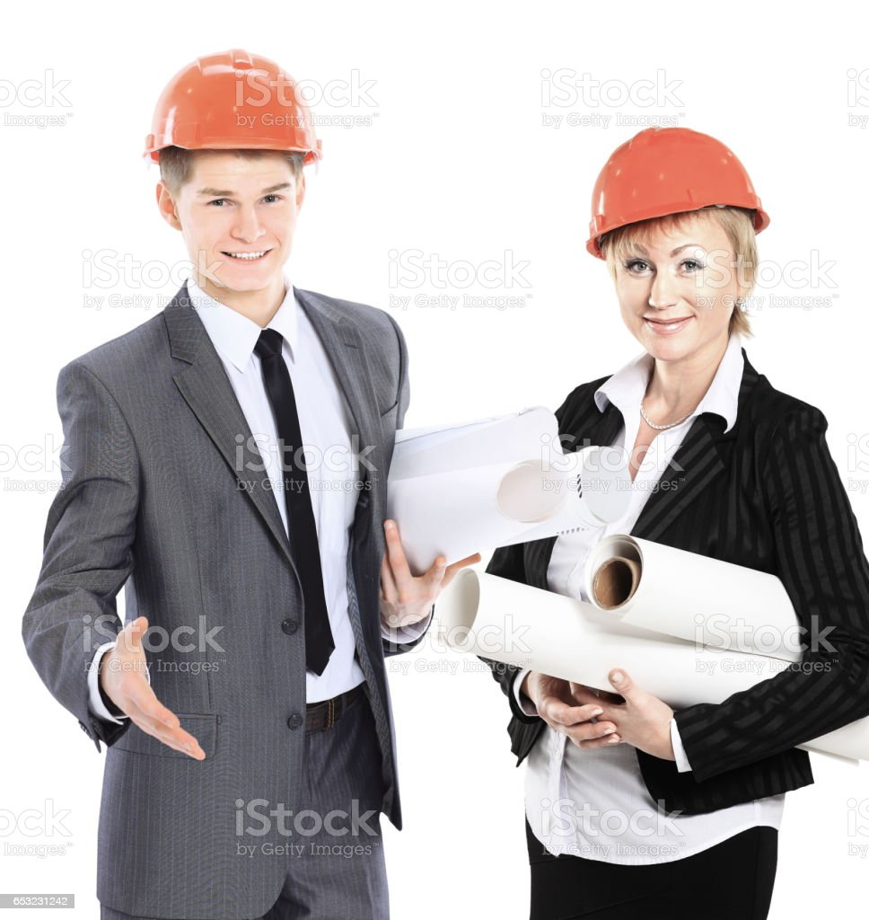 successful architects with drawings and documents on a white background  royalty-free stock photo