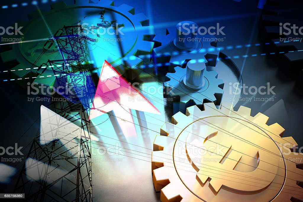 Successful arrows and currency gears, high-voltage wires stock photo
