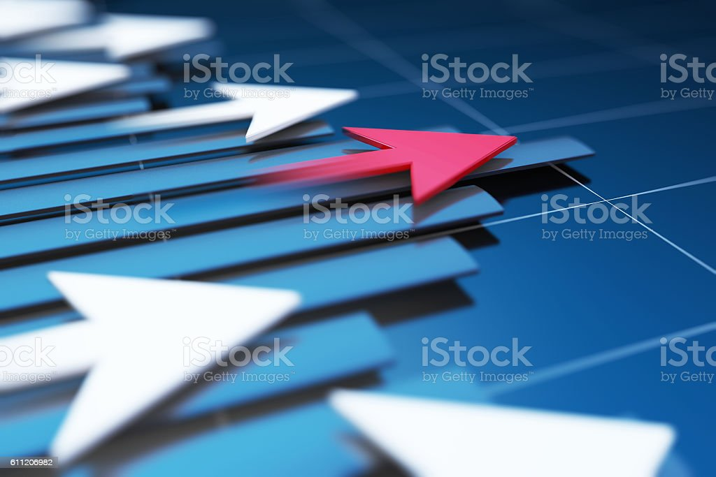 Successful arrows with economic data, stock market data stock photo