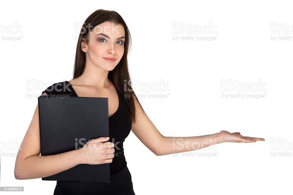 Successful Attractive Young Businesswoman Showing Something stock photo