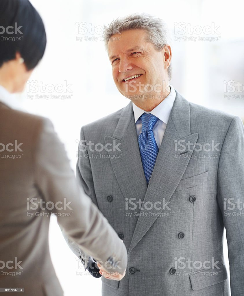 Successful business colleagues shaking hands royalty-free stock photo
