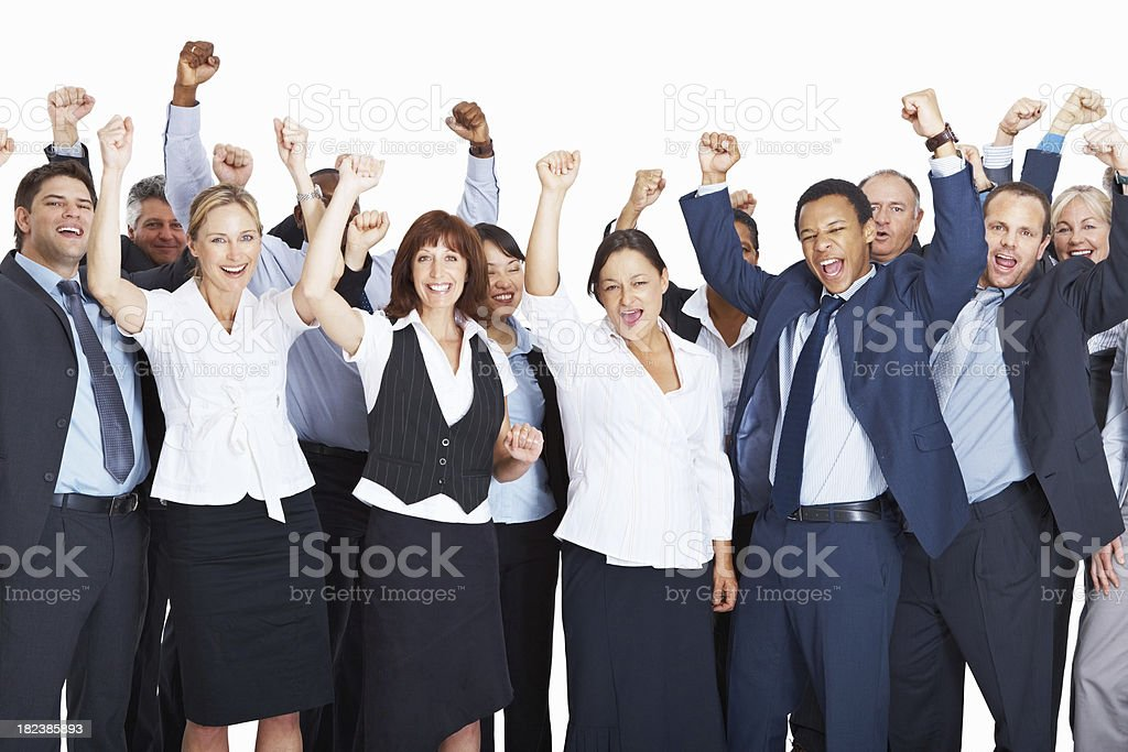 Successful business colleagues with hands raised in excitement royalty-free stock photo
