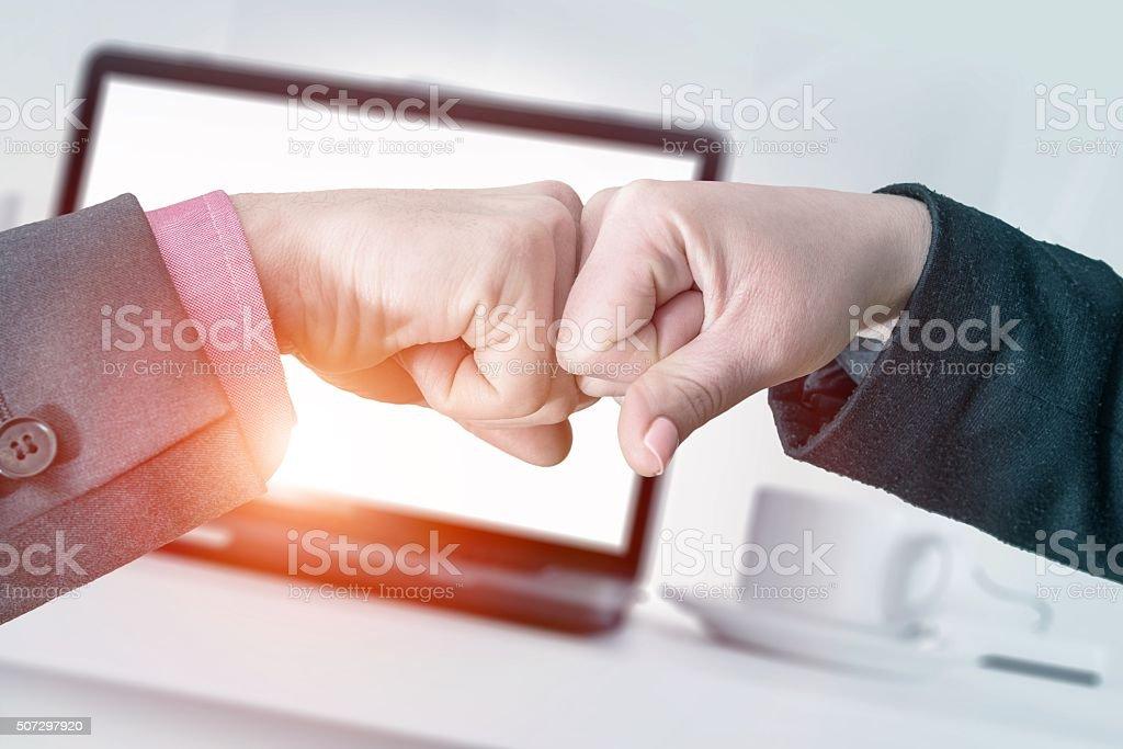 Successful Business Fist Bump stock photo