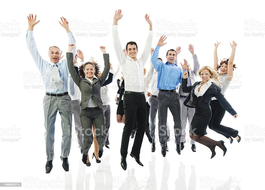 Successful business group jumping together. royalty-free stock photo