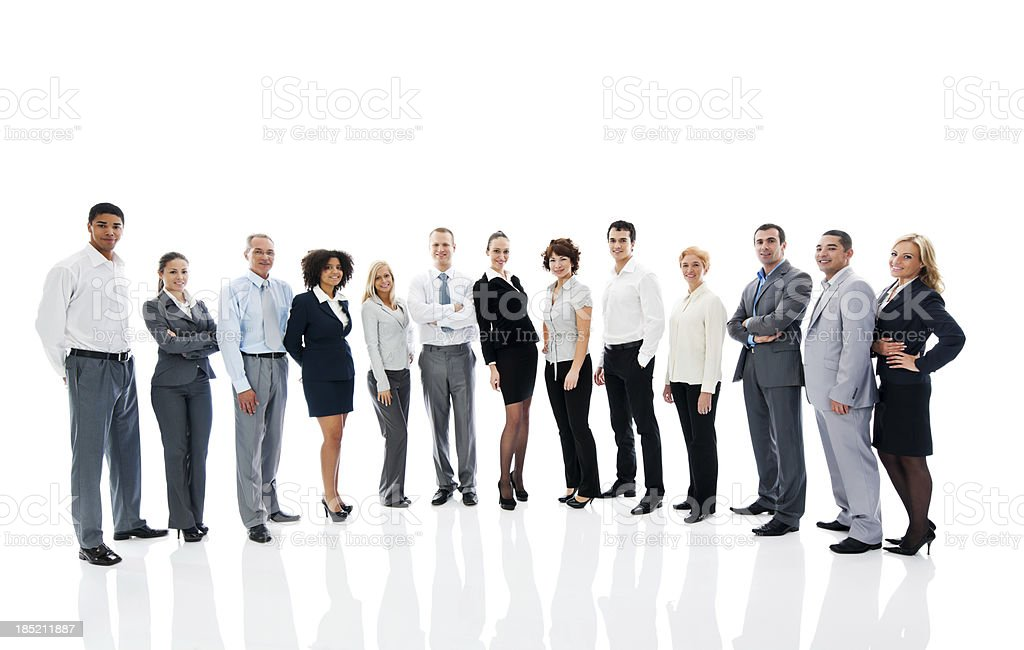 Successful business group on white background stock photo