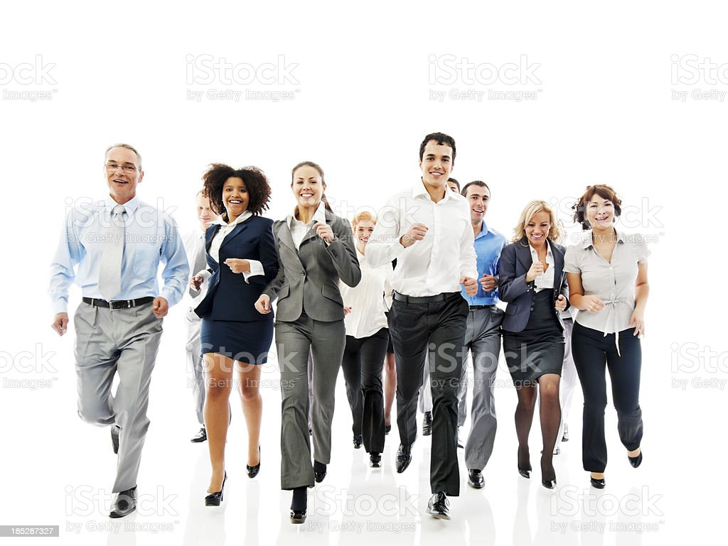 Successful business group running  together. royalty-free stock photo