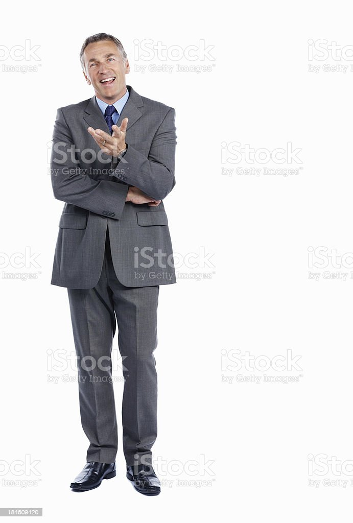 Successful business man conversing stock photo