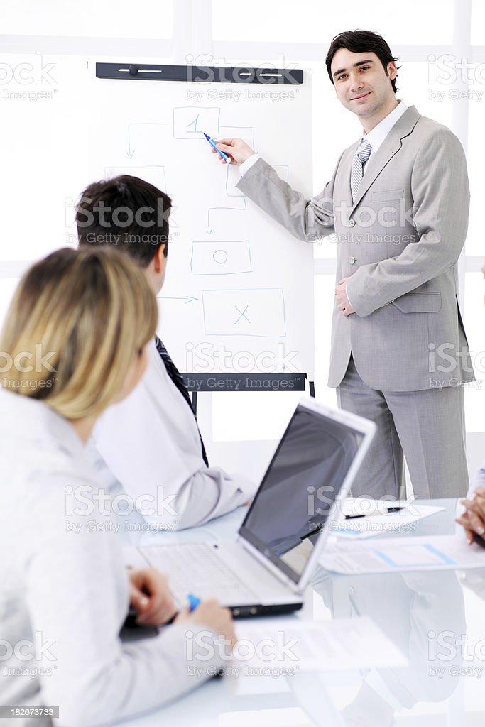 Successful business man giving a presentation on flipchart. royalty-free stock photo