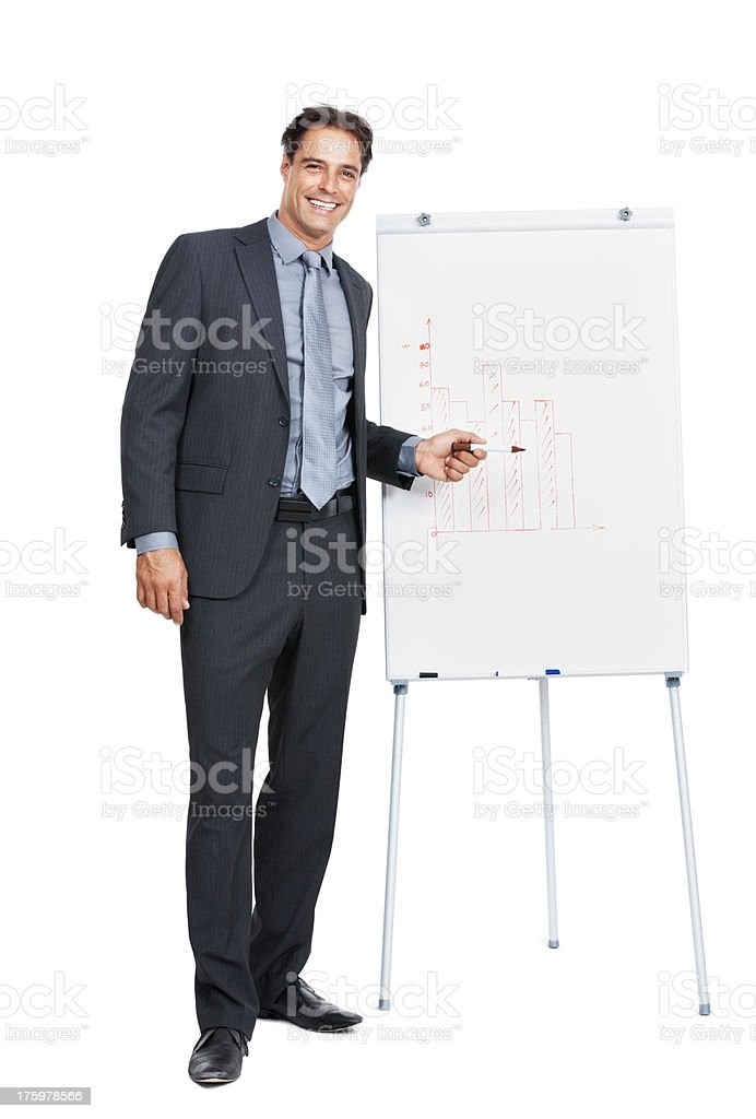Successful business man giving a presentation stock photo