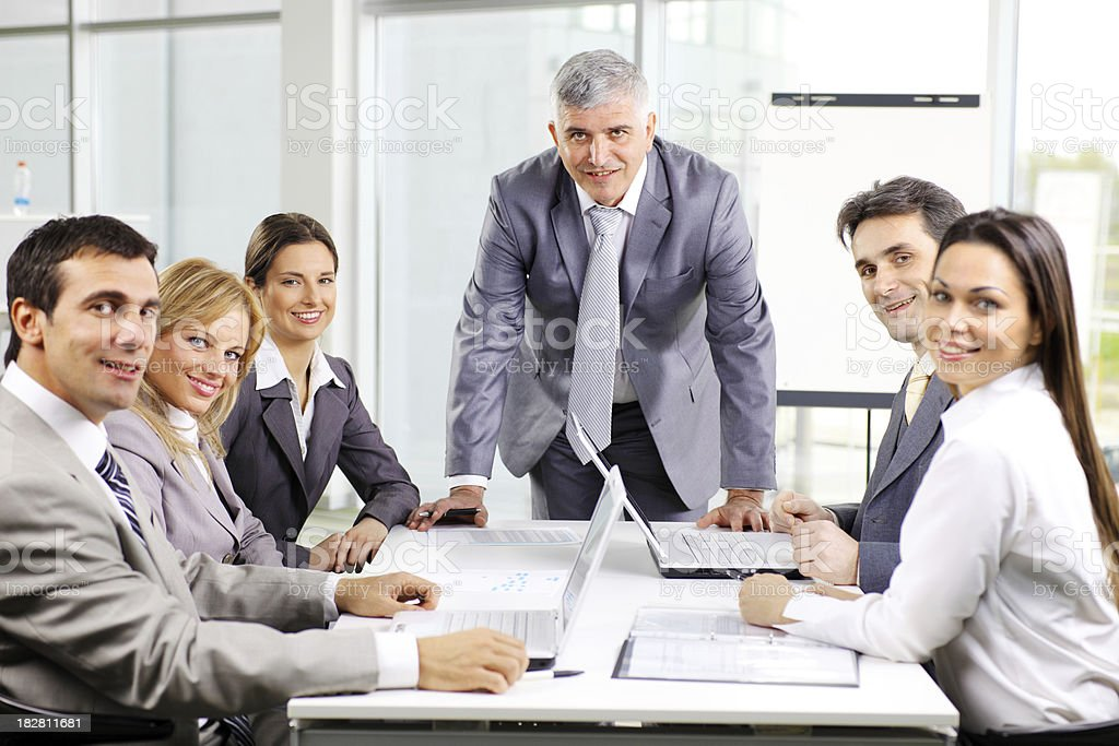 Successful business man giving a presentation royalty-free stock photo