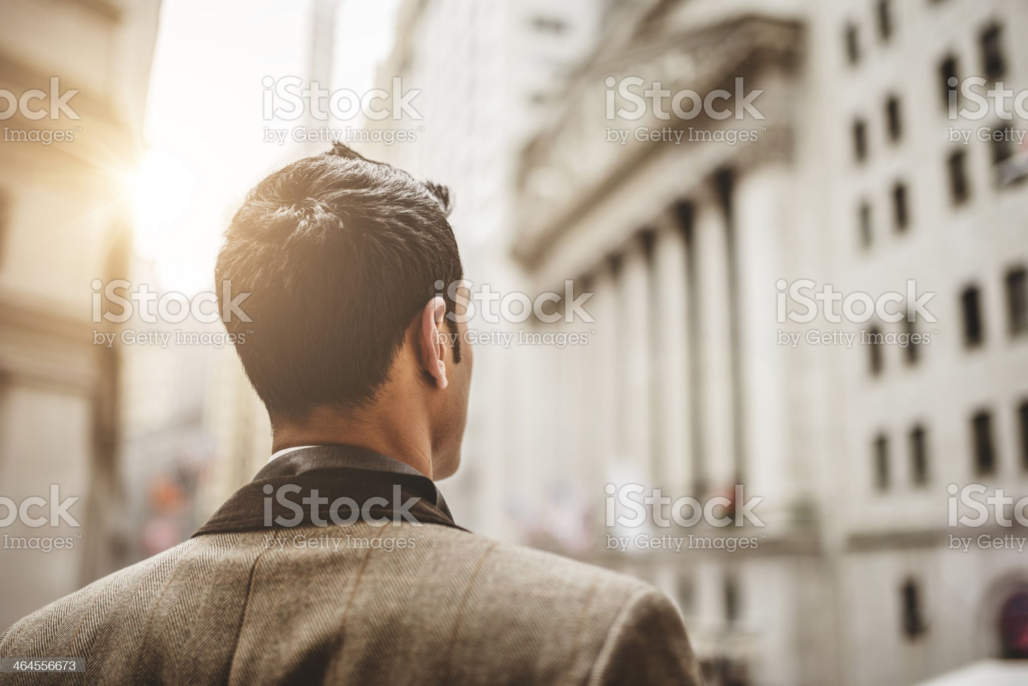 Successful business man looking wall street royalty-free stock photo