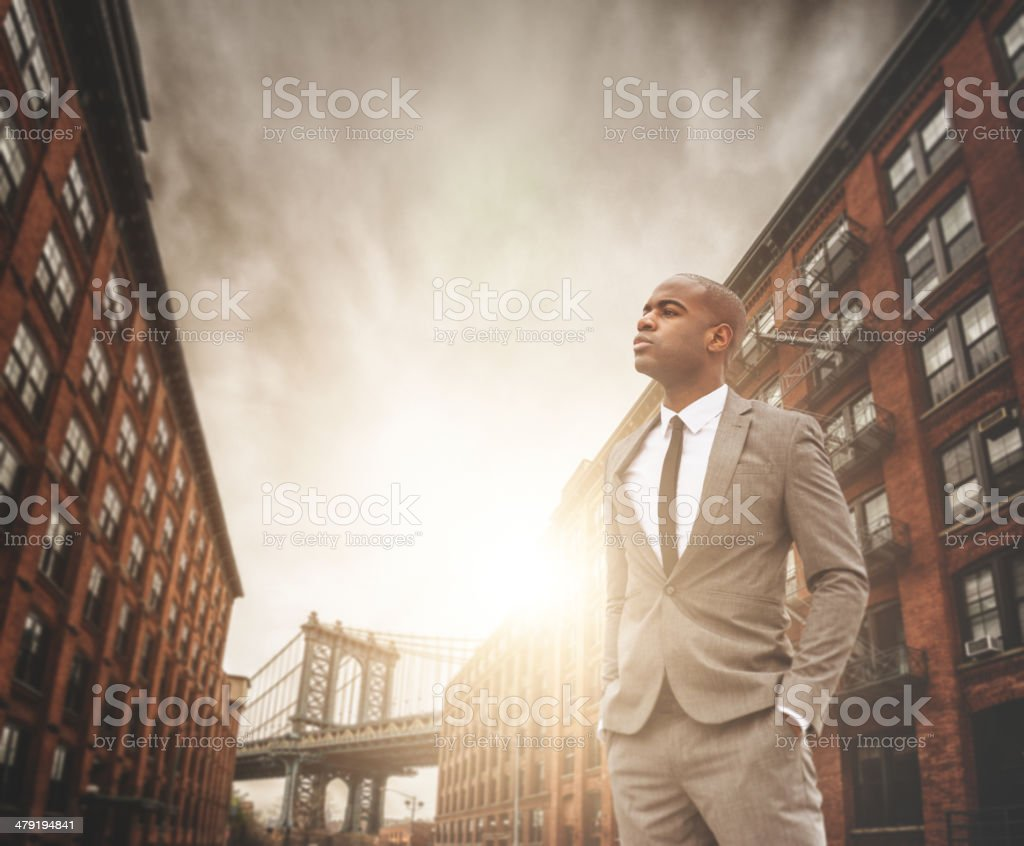 successful business man portrait in Dumbo - brooklyn stock photo