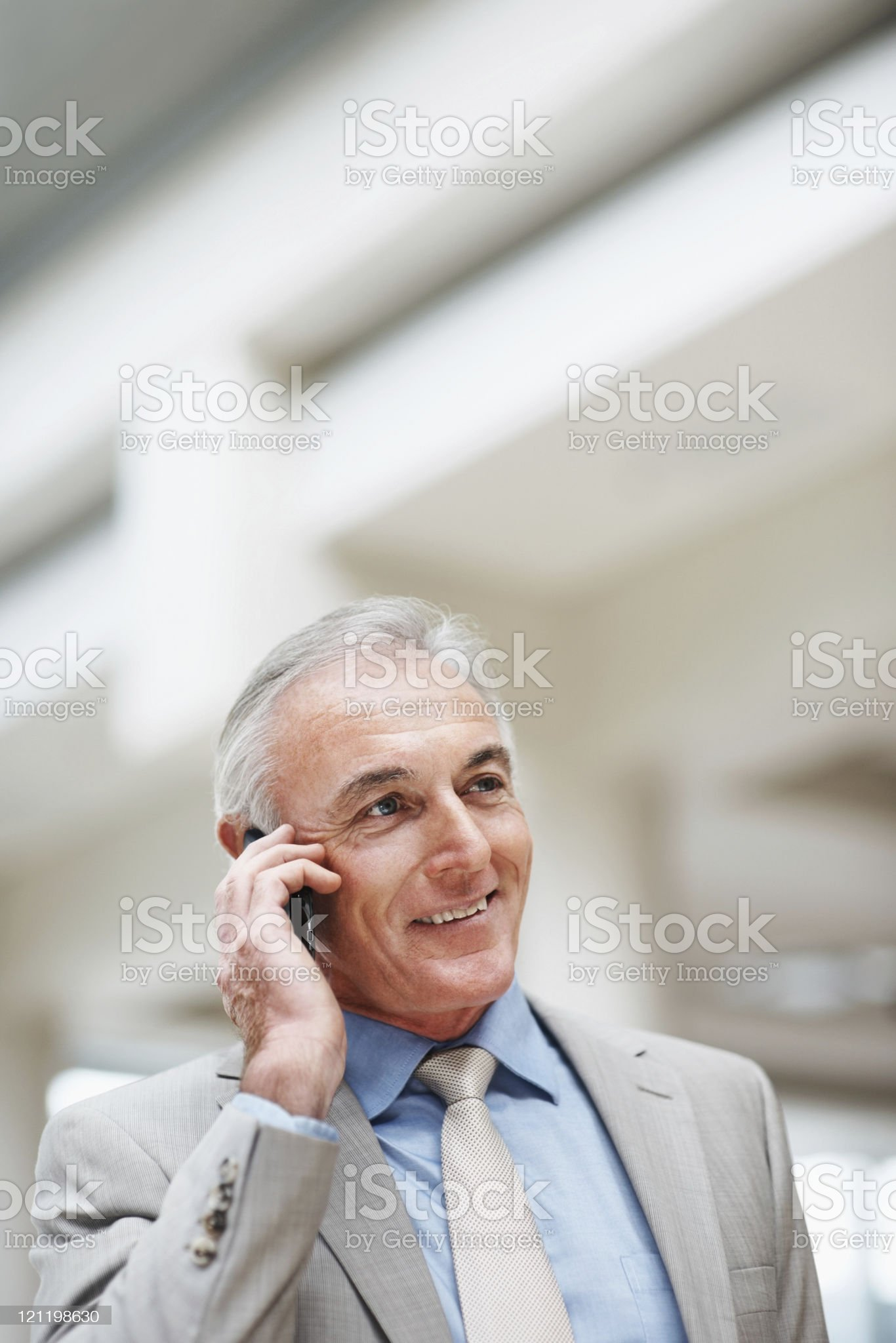 Successful business man talking on mobile phone royalty-free stock photo