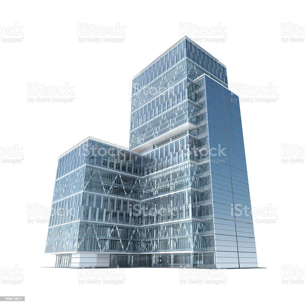 Successful business: modern corporate office building with clipping path stock photo
