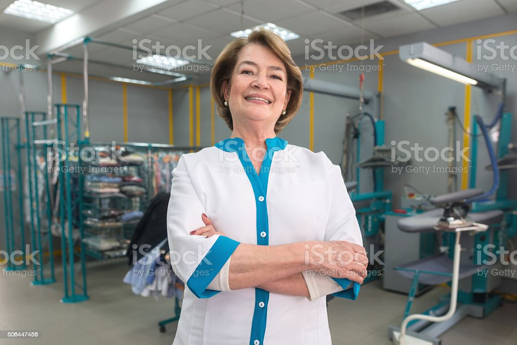 Successful business owner at a laundry stock photo