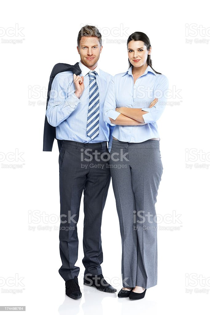 Successful business partners standing together stock photo