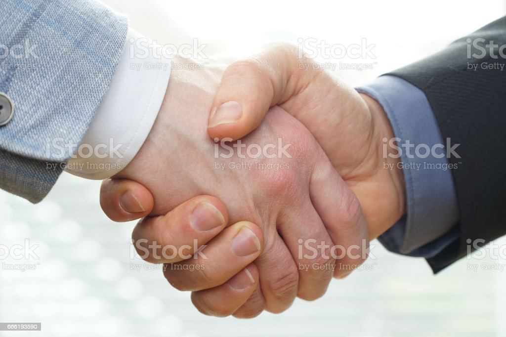 Successful business people handshaking closing a deal stock photo