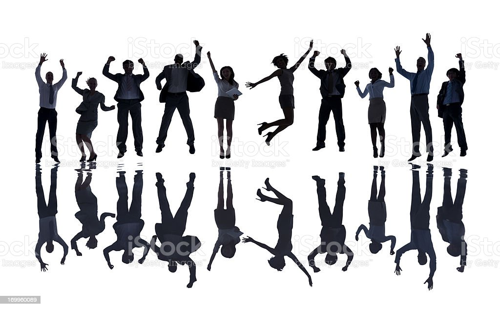 Successful business people jumping isolated on white. royalty-free stock photo
