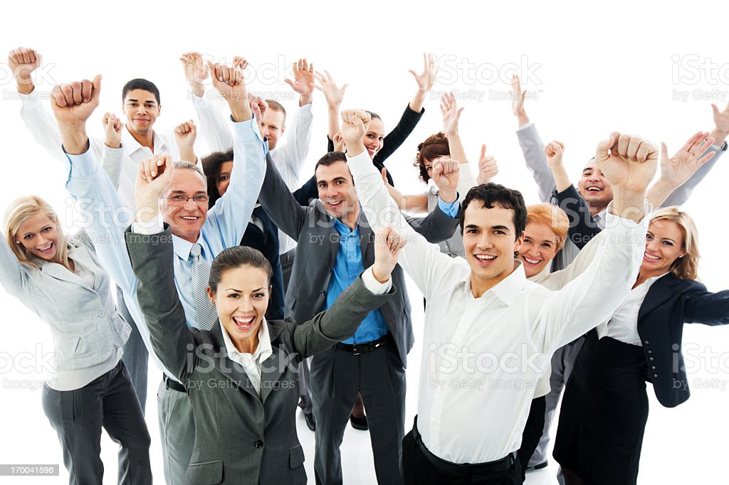Successful Business People with raised hands. royalty-free stock photo
