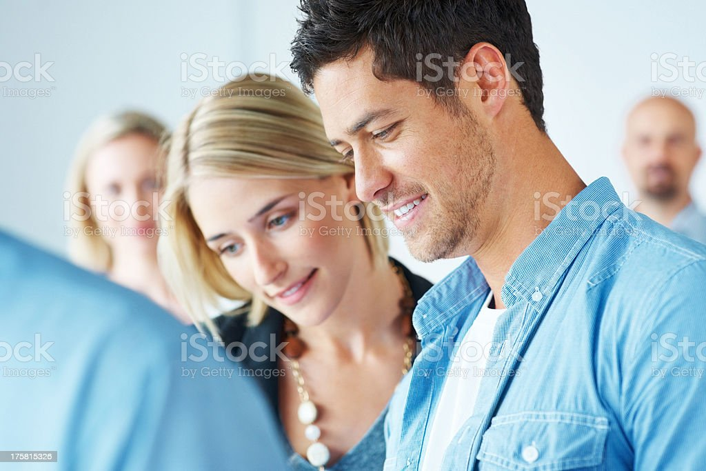 Successful business team at a corporate meeting stock photo