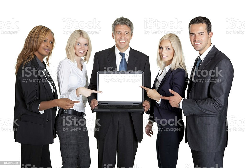 Successful business team displaying a laptop royalty-free stock photo