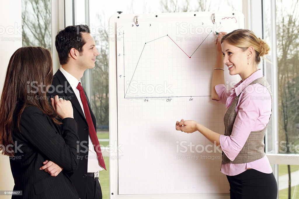 successful business team is wokring on a chart royalty-free stock photo