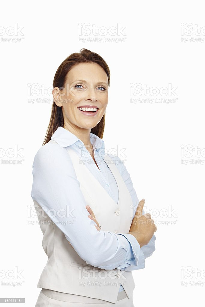 Successful business woman with hands folded against white royalty-free stock photo